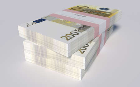 3D illustration - Packets of 200 Euro bills illustration