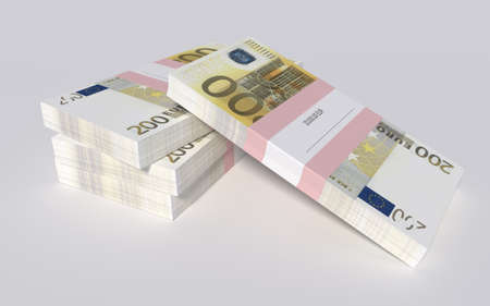packets: 3D illustration - Packets of 200 Euro bills