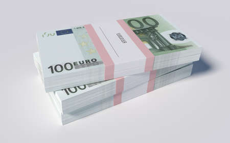 3D illustration - Packets of 100 Euro bills illustration
