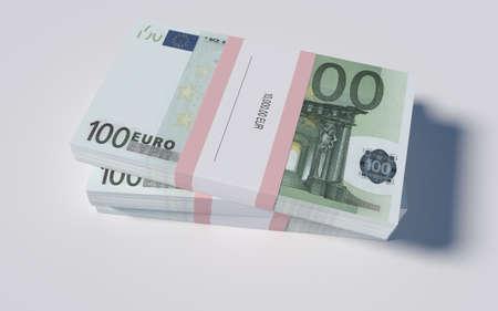 packets: 3D illustration - Packets of 100 Euro bills