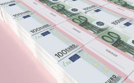 packets: 3D illustration - Packets of 100 Euro bills