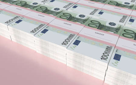 3D illustration - Packets of 100 Euro bills with copyspace illustration