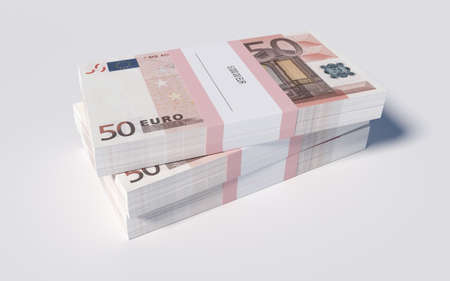 3D illustration - Packets of 50 Euro bills