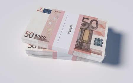 packets: 3D illustration - Packets of 50 Euro bills
