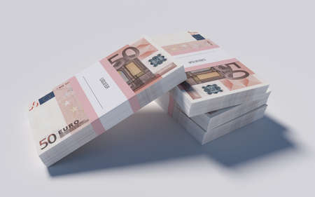 3D illustration - Packets of 50 Euro bills illustration
