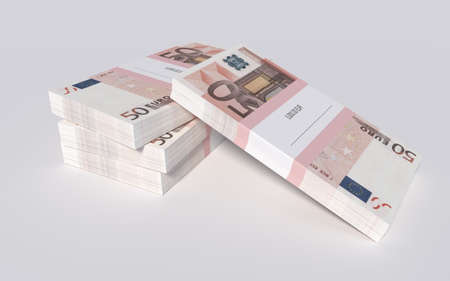 packets: 3D illustration - Packets of 50 Euro bills