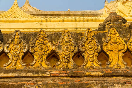 nu: The Maha Aungmye Bonzan Monastery decoration detail,  well-known as Me Nu Oak Kyaung in Innwa, Mandalay, Myanmar.