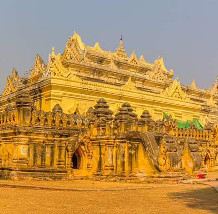 nu: The Maha Aungmye Bonzan Monastery,  well-known as Me Nu Oak Kyaung in Innwa, Mandalay, Myanmar.
