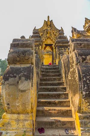 nu: The Maha Aungmye Bonzan Monastery entrance detail,  well-known as Me Nu Oak Kyaung in Innwa, Mandalay, Myanmar.