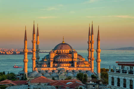 Blue mosque in glorius sunset, Istanbul, Sultanahmet park. The biggest mosque in Istanbul of Sultan Ahmed (Ottoman Empire). photo