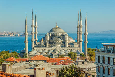 Blue mosque in glorius sunset, Istanbul, Sultanahmet park  The biggest mosque in Istanbul of Sultan Ahmed  Ottoman Empire   Zdjęcie Seryjne