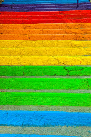 crack climb: Stairs painted in rainbow colors