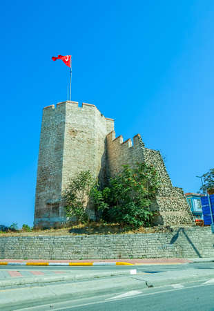 constantinople ancient: Remains of the famous ancient walls of Constantinople in Istanbul  Editorial