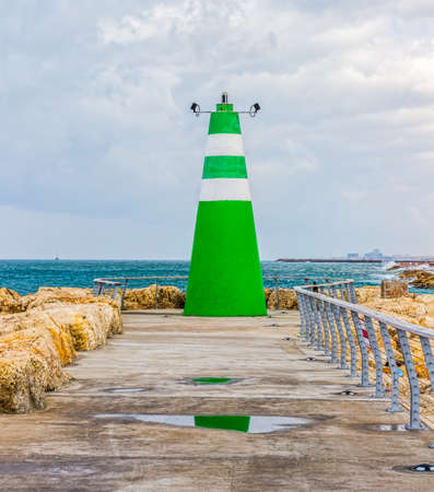 View of lighthouse in marina in Tel Aviv, Israel Stock Photo - 26702788