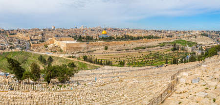 Dome of the Rock and Dome of the Holy Sepulcher in beautiful panorama of Jerusalem from Mount of Olives  photo