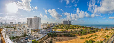 TEL AVIV, ISRAEL - FEBRUARY 26, 2014: Early morning panorama with a view of the beach, riviera and hotels.