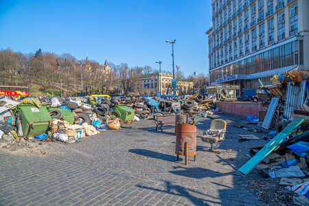 barricades: KIEV, UKRAINE - MARCH 22, 2014  Barricades on the Khreshchatyk street still stand because people distrust politicians and waiting for the Presidential elections  Editorial