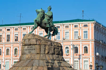 cossacks: The Khmelnytsky Monument in Kiev, installed in the center of Kiev in 1888. Sofia square in Kyiv
