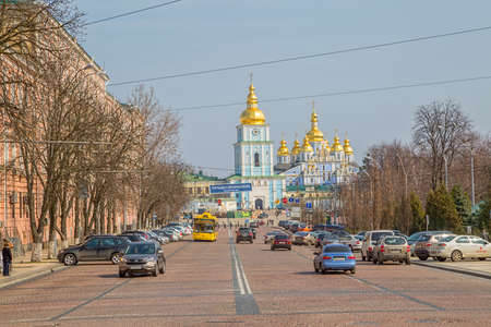 KIEV, UKRAINE - MARCH 23, 2014: St. Michael's Golden-Domed Monastery with barricades still stands in front of it. Demolished by the Soviet authorities in the 1930s, reconstructed in 1999.