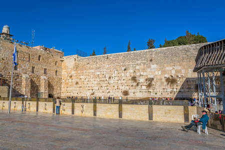 JERUSALEM, ISRAEL - FEBRUARY 28, 2014: The Western Wall, Wailing Wall or Kotel is located in the Old City of Jerusalem at the foot of the western side of the Temple Mount.