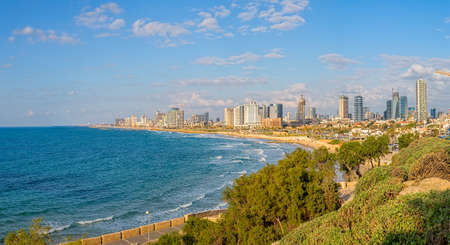 TEL AVIV, ISRAEL - MARCH 1, 2014: View of the beach, riviera and long promenade along skyline from Jaffa