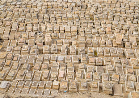 JERUSALEM, ISRAEL - FEBRUARY 28, 2014: Jewish cemetery on Mount of Olives, old more than 3,000 years and holds approximately 150,000 graves,