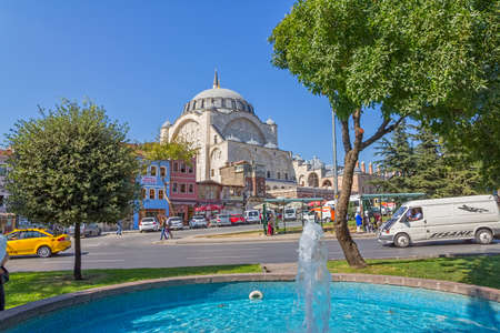 ISTANBUL, TURKEY - SEPTEMBER 28, 2013: The view from the park to the Mihrimah Sultan Mosque in Istanbul.