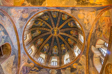 chora: ISTANBUL, TURKEY - SEPTEMBER 28, 2013: Mosaic of the Virgin Mother with child, north dome of the Chora Church a beautiful Byzantine church. Editorial