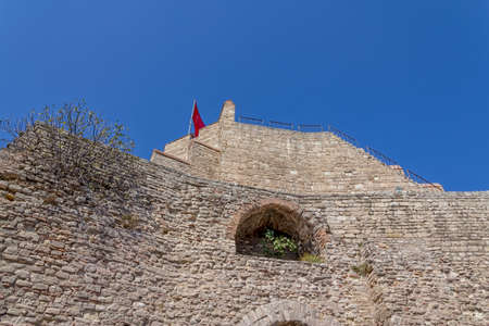 constantinople ancient: Remains of the famous ancient walls of Constantinople in Istanbul.