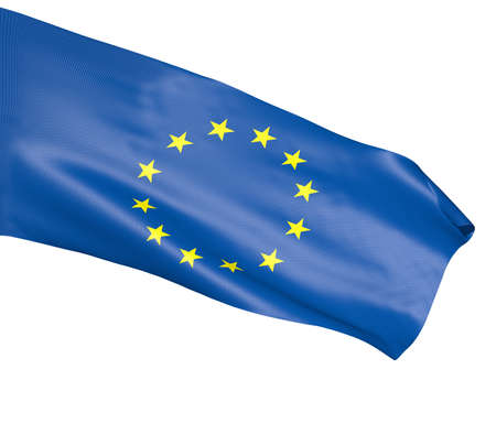 plastic material: A flag of  European Union on white background made of plastic mesh material Stock Photo