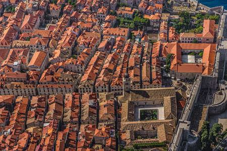 franciscan: Aerial helicopter shoot of Dubrovnik old town with Franciscan monastery.
