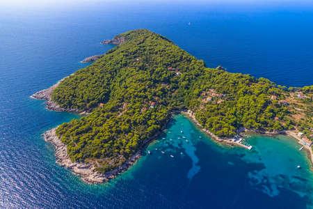 Rocky beach on Elaphites island Kolocep - Dubrovnik archipelago.