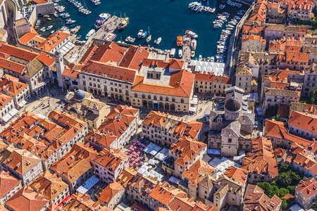 Aerial helicopter shoot of Dubrovnik old town with a view to the Rectors Palace and Cathedral. photo