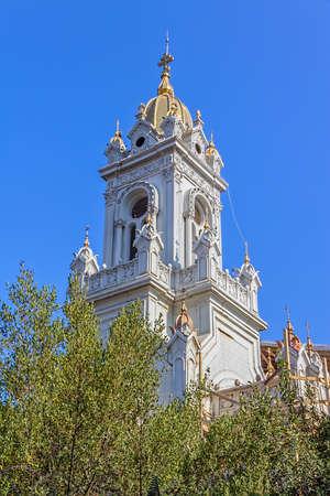 sveti: Beautiful Tower of The Bulgarian St Stephen Church, Sveti Stefan Kilisesi, a Bulgarian Orthodox church in Fatih famous for being made of cast iron.
