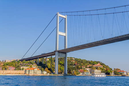 sailling: View of the First Bosphorus Bridge sailling Bosporus.