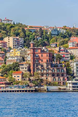 mehmet: ISTANBUL, TURKEY - SEPTEMBER 29, 2013: View of the residental buildings by the Fatih Sultan Mehmet Bridge, sailing Bosporus. Editorial