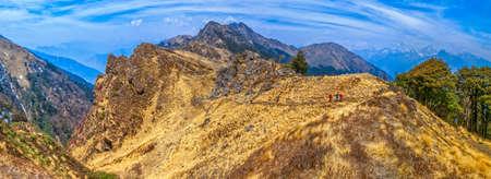 tallness: Himalayan Kuari Pass landscape in springtime, India.