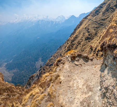 tallness: The narrow trekking path on the dizzy Himalayan heights, India.
