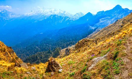 tallness: View of the Himalayan mountain range from a narrow trekking path. Stock Photo