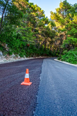 Traffic cone on a newly paved road through the forest
