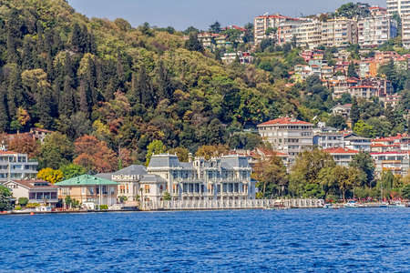 consulate: View of the Bebek residental buildings and Consulate of Egypt sailing Bosporus. Stock Photo