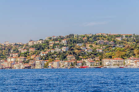 residental: View of the Bebek residental buildings sailing Bosporus. Stock Photo