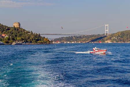 mehmet: View of the Fatih Sultan Mehmet Bridge sailing Bosporus.