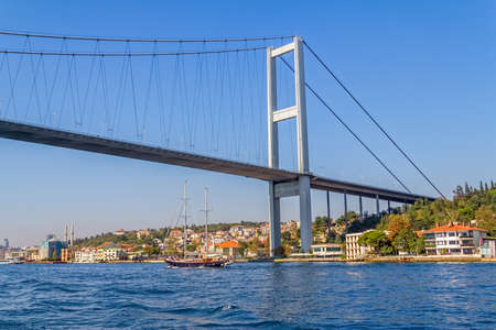 ISTANBUL, TURKEY - SEPTEMBER 29, 2013 View of the First Bosphorus Bridge sailling Bosporus. Editorial