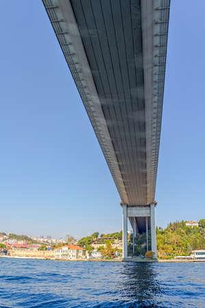 sailling: ISTANBUL, TURKEY - SEPTEMBER 29, 2013: View of the First Bosphorus Bridge sailling Bosporus.
