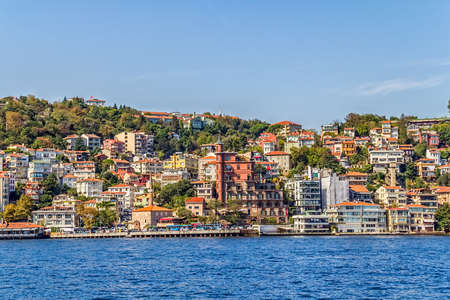 residental: ISTANBUL, TURKEY - SEPTEMBER 29, 2013: View of the residental buildings by the Fatih Sultan Mehmet Bridge, sailing Bosporus. Editorial