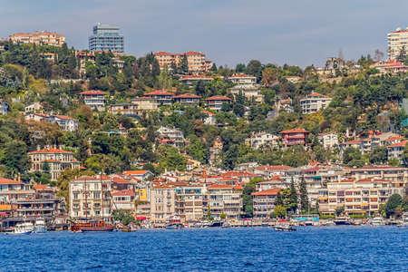 residental: ISTANBUL, TURKEY - SEPTEMBER 29, 2013: View of the Bebek residental buildings sailing Bosporus. Editorial