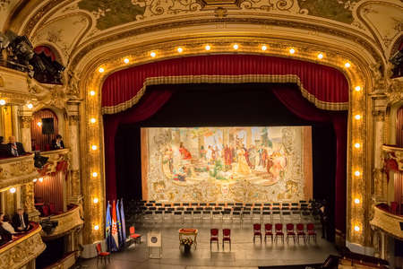 make known: ZAGREB, CROATIA - October 14, 2014: The curtain of the Croatian National Theatre in 1895 make by Vlaho Bukovac. Today known as the Croatian national revival.