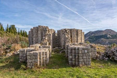 The ruins of the church in Bijela Lokva Oslje is unique famous church octagonal floor plan in the pre-Romanesque Dalmatia, Croatia Europe.