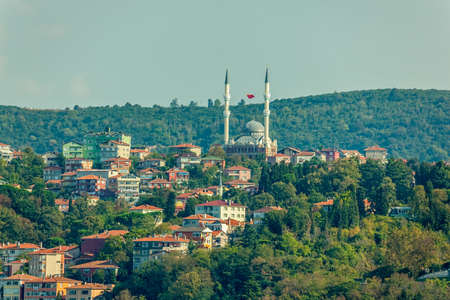 right bank: View to the district Beykoz, part of Istanbul on the right bank of the Bosphorus. Stock Photo